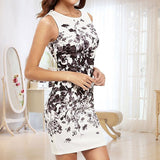 Summer Trend Casual Sleeveless Flower Bodycon Party Short Mini Dress - ISLAND63