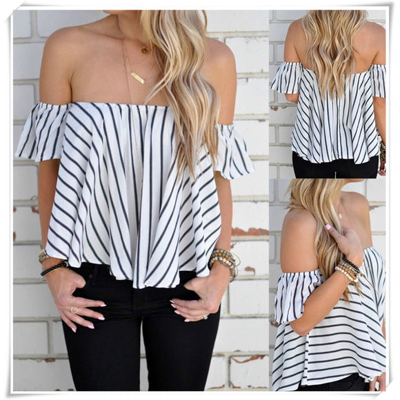 Casual Pleated Ruffle Off Shoulder Blouse Top - ISLAND63