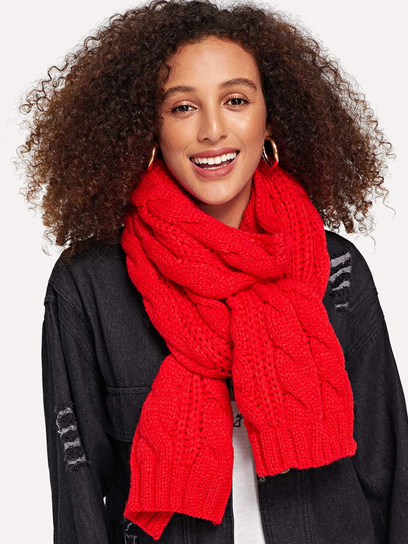 Cable Knit Scarf (Red) - ISLAND63