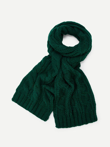 Cable Knit Scarf (Green)