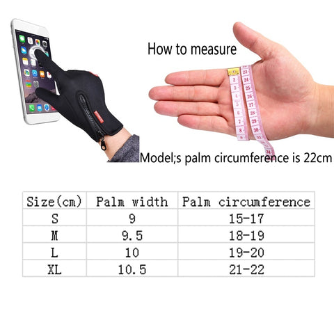 Unisex Touch Screen Ski Motorcycle Driving Winter Warm Gloves measurement