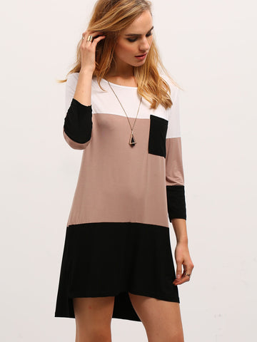 Color Block Dress With Pocket