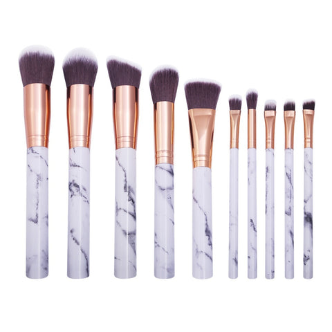 10Pcs Soft Marble Makeup Brushes black