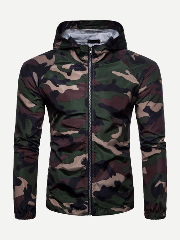 Men Zip Camo Hooded Jacket (Green) - ISLAND63