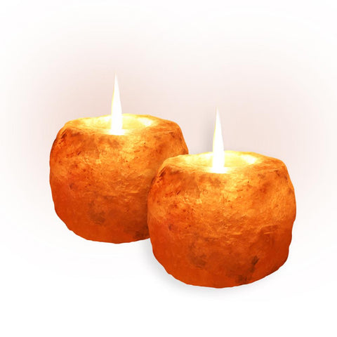 2 Pack Pink Himalayan Rock Salt Candle Holder