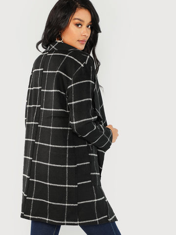 Pocket Front Grid Waterfall Coat (Black)