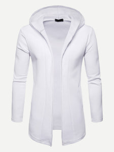 Men Solid Hooded Coat (White) - ISLAND63
