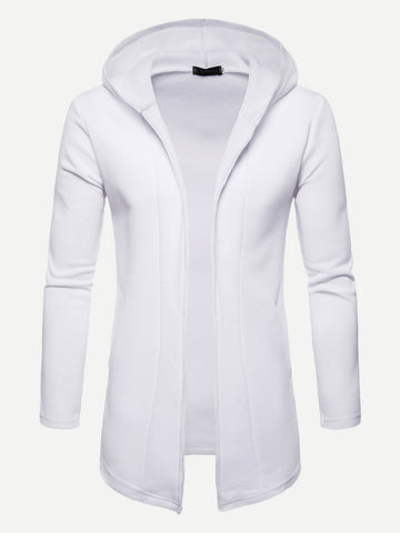 Men Solid Hooded Coat (White)