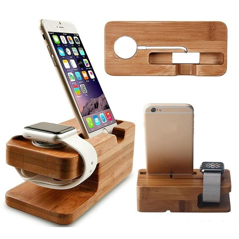 2-in-1 Bamboo Cradle for iWatch & iPhone