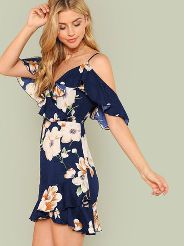 Elle Cold Shoulder Floral Dress