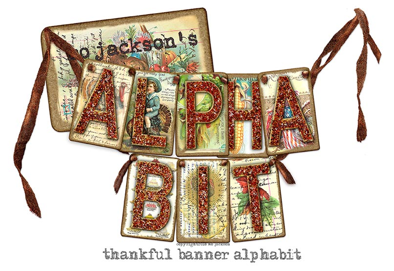 thankful glittered alphabit