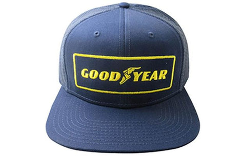 Goodyear Flat Bill Vintage Cap - Navy - Wide Open Vault