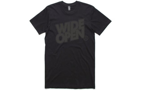 WIDE OPEN Men's T-Shirt - Black/Black Print - Small - Wide Open Vault