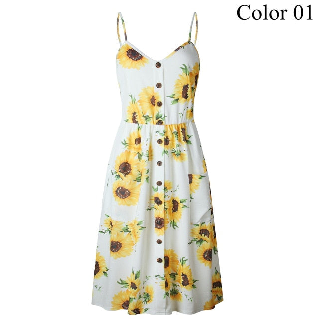 bf15e596fbfbe 2019 Summer Women Button Decorated Print Dress Off-shoulder Party ...