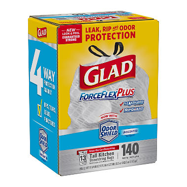 Glad ForceFlexPlus Tall Kitchen Drawstring Trash Bags - Unscented - 13 Gallon - 140 Count