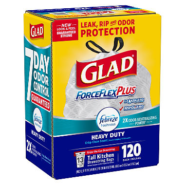 Glad ForceFlexPlus Tall Kitchen Drawstring Trash Bags, Febreze with Heavy Duty Crisp Clean Freshness, 13 Gallon (120 Count)