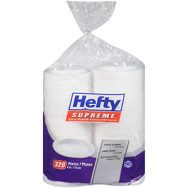 "Hefty Supreme Foam Plates, 6"" (320 ct.)"