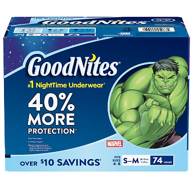 GoodNites Bedtime Underwear for Boys, S/M (74 ct.)
