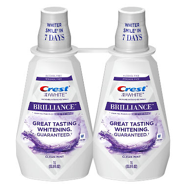 Crest 3D White Brilliance Whitening Mouthwash, Clean Mint (33.8 fl. oz., 2 pk.)