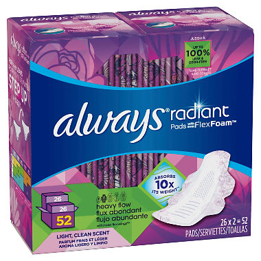 Always Radiant Pads with FlexFoam, Heavy Flow (52 ct.)
