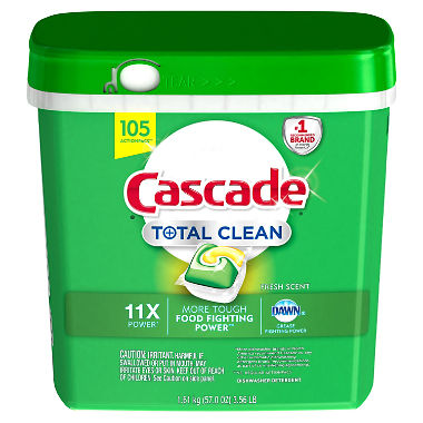 Cascade Total Clean ActionPacs Dishwasher Detergent (Fresh, 105 ct.)