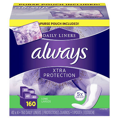 Always Xtra Protection Daily Liners, Long - with Purse Pouch (160 ct.)
