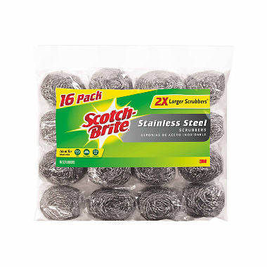 Scotch-Brite 2X Larger Stainless Steel Scrubbers Club Pack, 16 Scrubbers per pack