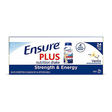 Ensure Plus Nutrition Shake Vanilla Ready-to-Drink with 13 grams of protein, Meal Replacement Shakes (8 oz. bottles, 24 pk.)