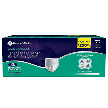 Member's Mark Total Protection Underwear for Men & Women, X-Large (72 ct.)