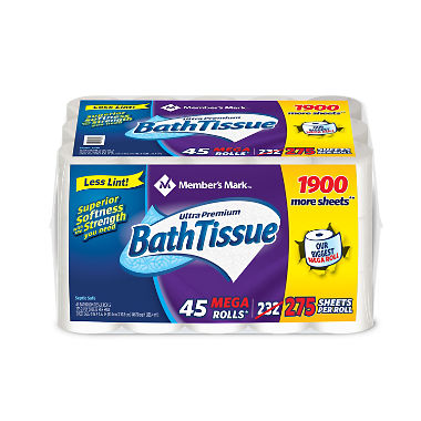 Member's Mark Ultra Premium Bath Tissue, 2-Ply Mega Roll (275 sheets, 45 rolls)