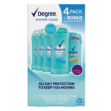 Degree Dry Protection Deodorant, Shower Clean (2.6 oz, 4 pk. + 1.6 oz. Sexy Intrigue)