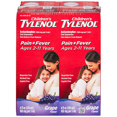 Children's Tylenol Oral Suspension, Grape (4 fl. oz., 2 pk.)