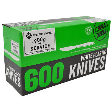 Member's Mark Plastic Knives, Heavyweight, White (600 ct.)