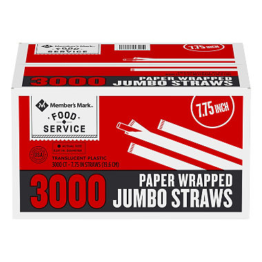 Member's Mark Jumbo Wrapped Straws (7.75 in., 3,000 ct.)