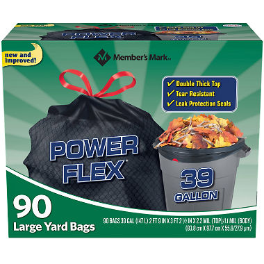 Member's Mark 39 Gallon Power-Guard Drawstring Yard Bags (90 ct.)