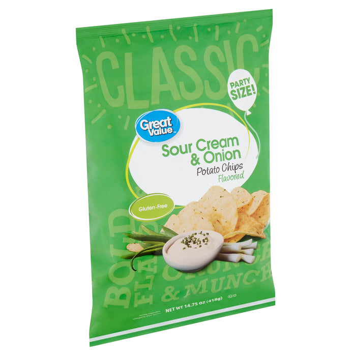 Great Value Sour Cream & Onion Flavored Potato Chips Party Size!, 14.75 oz