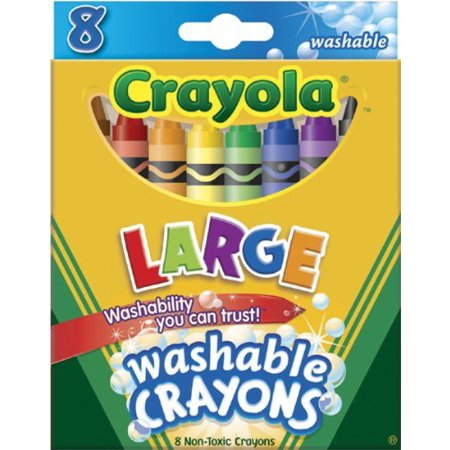 Crayola Washable Crayons, Large, 8 Colors (Case Of 36)