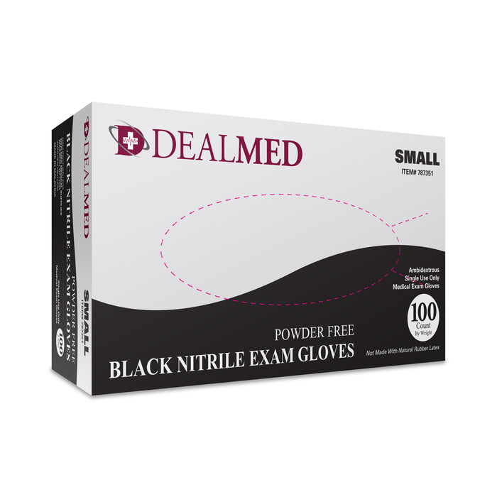 Dealmed Nitrile Exam Gloves, Black, Small, 100/Bx