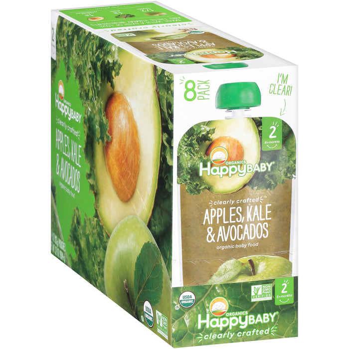 Happy Baby Clearly Crafted, Stage 2, Organic Baby Food, Apples, Kale & Avocado, 4 Oz