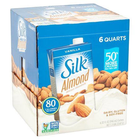 (Pack of 6) Silk Vanilla Almondmilk, Non-Dairy, Vegan, Plant-Based, 32 fl oz