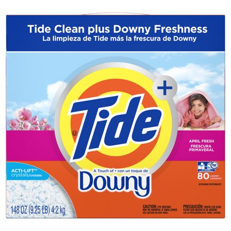 Tide Plus A Touch of Downy Powder Laundry Detergent, April Fresh, 80 loads, 148 oz