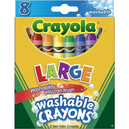 Brand New Washable Crayons, Large, 8 Colors box (52-3280) Assorted, High-quality