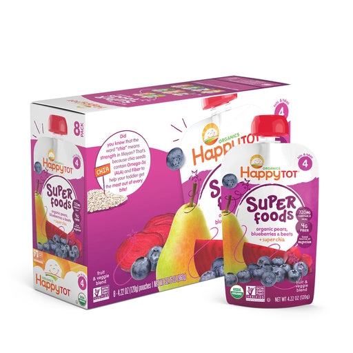 (8 Pouches) Happy Tot Superfoods, Stage 4, Organic Toddler Food, Pears, Blueberries & Beets + Super Chia, 4.22 oz