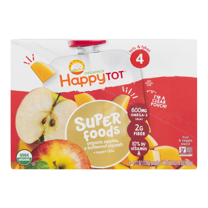 (8 Pouches) Happy Tot Super Foods Pouches Organic Apples & Butternut Squash + Super Chia, 4.22 OZ