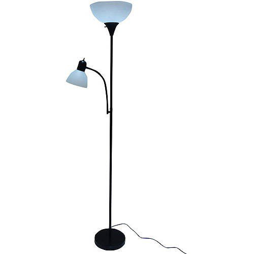 Mainstays 72'' Combo Floor Lamp with Adjustable Reading Lamp - Black