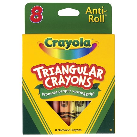Crayola Anti-Roll Non-Toxic Triangular Crayon, 7 16 X 4 In, Assorted Color, Pack Of 8