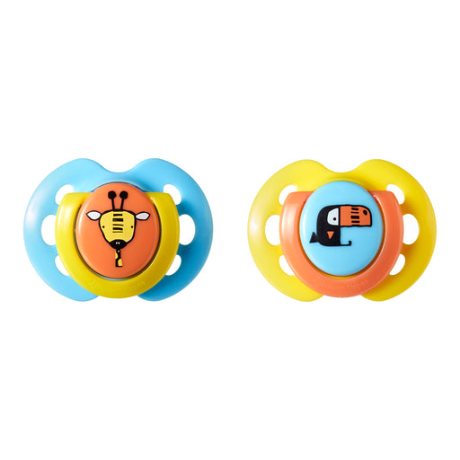 Tommee Tippee Closer to Nature Fun Baby Pacifiers, 0-6 months - 2 count (Colors May Vary)
