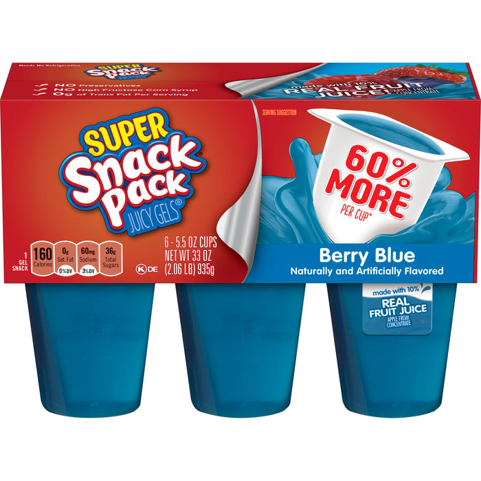 Super Snack Pack Berry Blue Juicy Gels 5.5 Oz. 6 Count