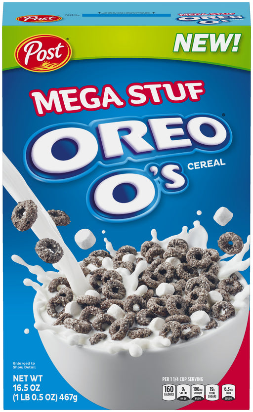 Post Oreo O's Cereal, Mega Stuff, 16.5 Oz