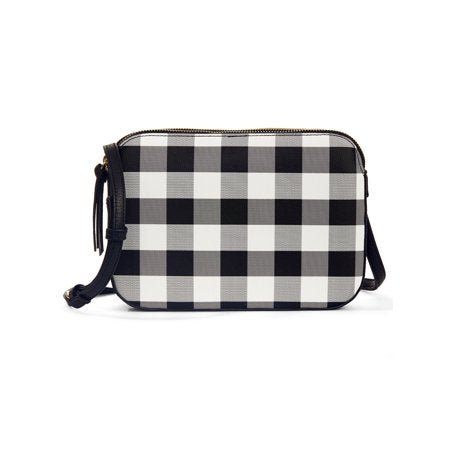 Gingham Print Dual Compartment Cross Body